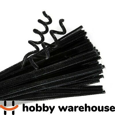 Chenille Stems Black 300x6mm 100 Pack