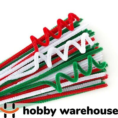 Chenille Stems Green, Red, White 300x6mm 100 Pack