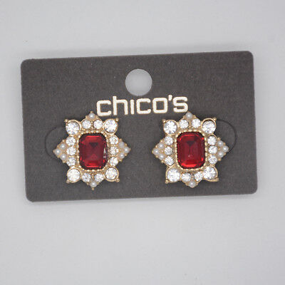 chico's jewelry gold tone cut crystals red glass stone faux pearl stud earrings
