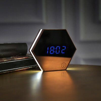 ND_ Digital LED Alarm Clock Night Light Thermometer Mirror Touch Screen Gift E