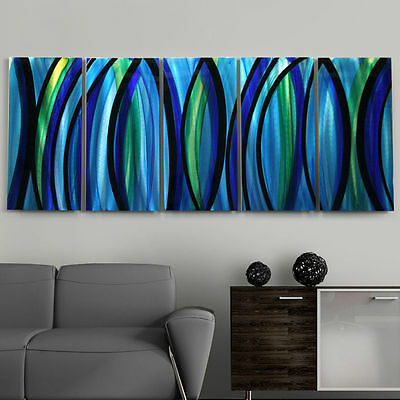 Large Blue/Silver Modern Abstract Painting Metal Wall Art Decor by Jon Allen