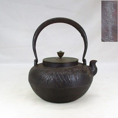 E892: Japanese old iron kettle TETSUBIN by famous RYUBUN-DO with bamboo relief