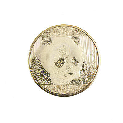 gold-plated cute panda baobao commemorative coins collection art gift Y