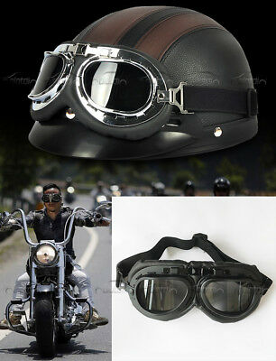 Cruiser Cafe Scooter Vintage Retro Aviator Pilot Goggles For Harley Motorcycle