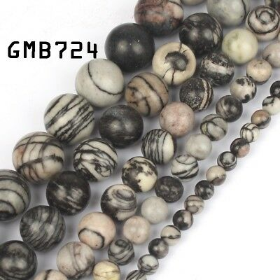 "Natural Black Spider Web Jasper Round Loose Beads for Jewelry Making15"" 6/8/10mm"