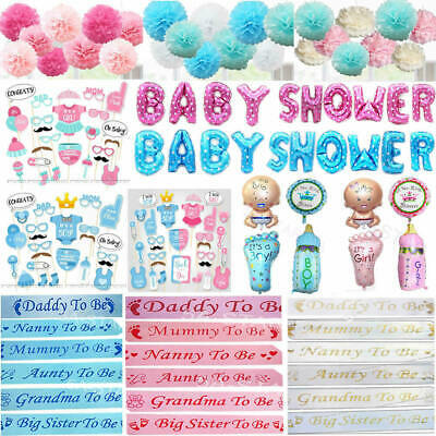 Baby Shower Sashes Boy Or Girl Foil Balloons Banner Photo Booth Props Pompoms