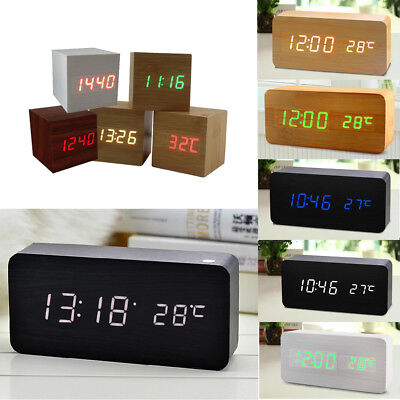 Electronic Digital Wood LED Alarm Clock Sounds Control Temperature Desk Decor~