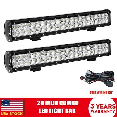 2x 20Inch CREE Led Light Bar Spot Flood Offroad 4WD JEEP Boat Ford SUV +Wiring