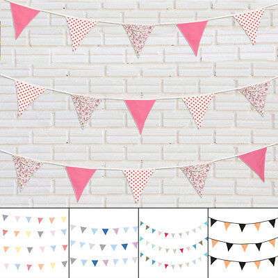 10M Multi-color Vintage Cotton Fabric Flag Bunting Party Decoration Baby Nursery