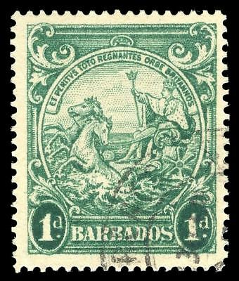 "Barbados 1942 ""Badge"" 1d PRINTED DOUBLE, ONE ALBINO with KGVI Cert VFU. SG 249cb"