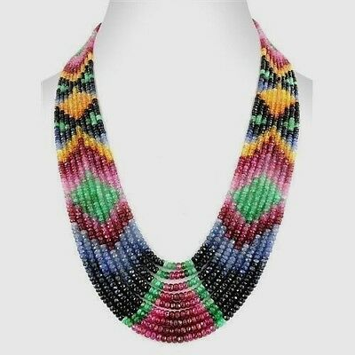 """100% Natural 9 Strand Multi Precious Sapphire,Ruby Faceted Gemstone Necklace 18"""""""