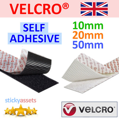 VELCRO® Hook & Loop Self Adhesive Tape 10mm 20mm 50mm Black/White Sticky Strips