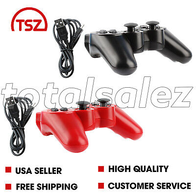 2 For Sony Playstation 3 PS3 Combo Wireless Bluetooth Video Game Controller Cord