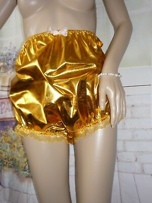 """SHIMMERING STRETCH LAME GOLD HIGH WASTED BIG PANTIES 34-58"""" BABY sissy CD TV"""