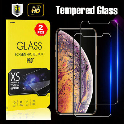 2X Tempered Glass Screen Protector for Apple iPhone 5S 6 6S 7 8 Plus X XS MAX XR