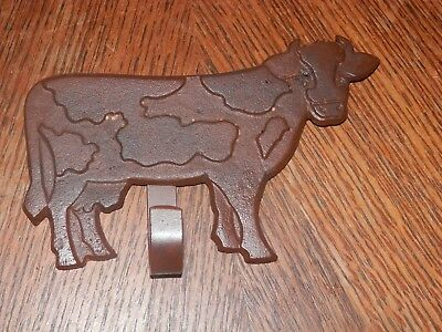 Cast Iron Cow Kitchen Towel Hook Holder, Measures 4.5 x 6.5 in.