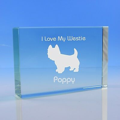 West Highland Terrier Personalised Engraved Glass Paperweight Ornament