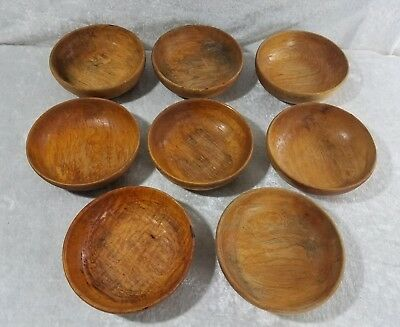 "Vintage Wood Bowls Set Of 8 Salad Fruit 1970's & 1980's 6"" Diameter Bowls Nice"