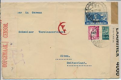 LI59859 South West Africa 1943 WW2 censored fine cover used