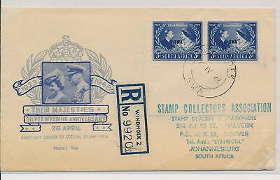 LI59877 South West Africa 1948 silver wedding first day cover used