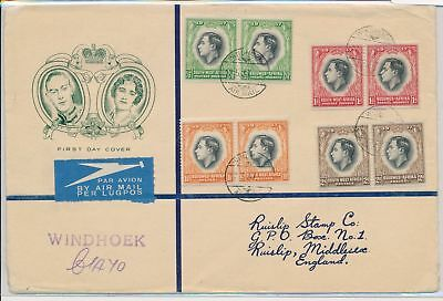 LI59881 South West Africa 1937 George VI coronation airmail FDC used