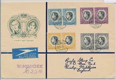 LI59882 South West Africa 1937 George VI coronation airmail FDC used