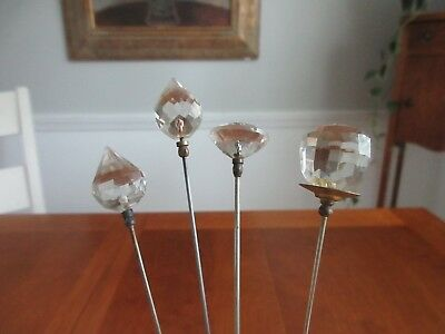 antique,vintage,BEAUTIFUL GLASS HATPINS,CRYSTAL,?,IN NICE CONDITION TOO