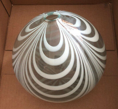 ANTIQUE LARGE GLASS  CLEAR WHITE SWIRL ETCHED / 19th Century Witch Ball (#2)