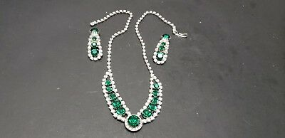 Vintage Rhinestone Necklace And Drop Earrings Emerald Green Stones Signed Ivana
