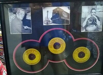 Johnny Cash Jerry Lee Lewis Sun 45 Record Picure Bevel Matted