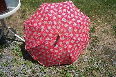 Vintage 30's or 40's Parasol Umbrella > Red - White & Blue w/ Hearts > VERY COOL