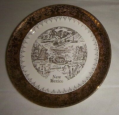 """Vintage Sabin Crest O Gold New Mexico Souvenir State Collectors Plate 10 1/4"""""""