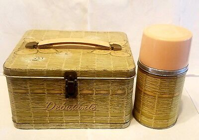 1958 Aladdin Industries Debutante Girls Metal Lunchbox with Matching Thermos