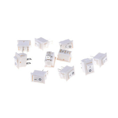 10X 2pins KCD11 On / Off 3A 250V 15x10mm Interruttore a bilanciere bianco PQ