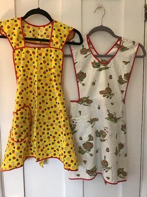 Lot of 2 Vintage Retro Full Bib Aprons, Yellow W/ Strawberries, Green & Red