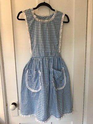 Vintage Retro Full Bib Apron, Hand Made, Blue & White GIngham, Dorothy From Oz