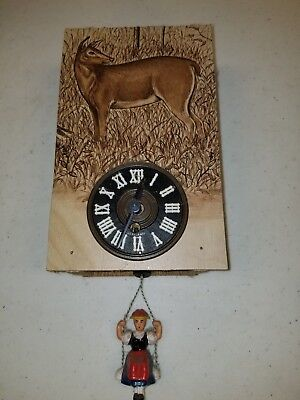 Wooden Clock Germany Cuckoo Style Not Original Lady on Swing Vintage    #22