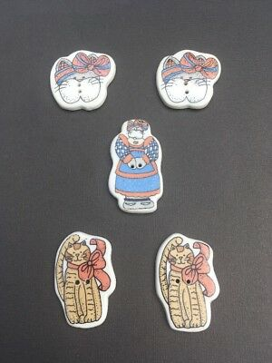 5 Ceramic Buttons country Cat plaid bows vintage New without package Alma Lynne