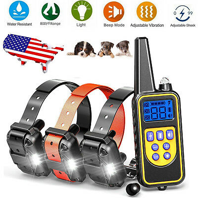 Electric Waterproof Rechargeable Pet Dog Shock Remote Training Bark Collar 800m