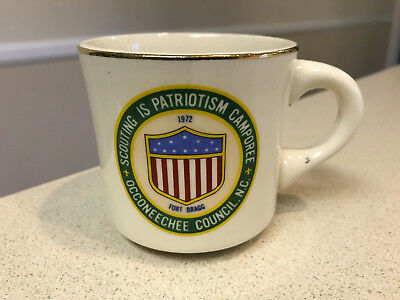 ⚜ Boy Scout 1972 Scouting is Patriotism Camporee Occoneechee Ft Bragg Mug Cup