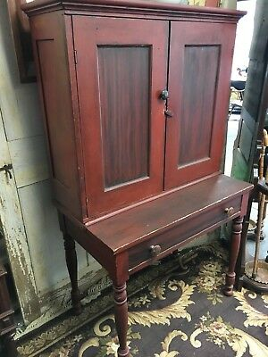 1870s  ANTIQUE WOOD  CUPBOARD W/ SHELVES, red paint