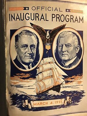 1933 FRANKLIN ROOSEVELT FDR-Garner OffIcial Leather Inaugural Program