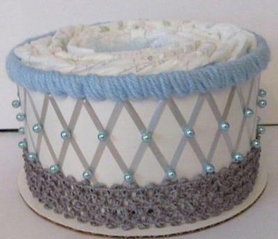 Light Blue and Grey Elephant Themed Baby Boy Shower 1 Tier Diaper Cake Gift