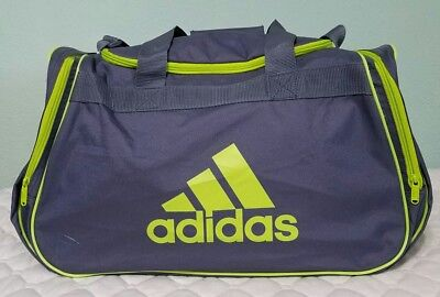 80e3f13796ce Adidas Duffel Bag Gray Lime Padded Handle Adjustabl Fits Gym Locker READ  FIRST