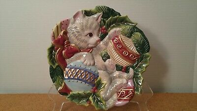 Fitz & Floyd Essentials Christmas Kitten Cat Plate Platter Dish or Wall Display