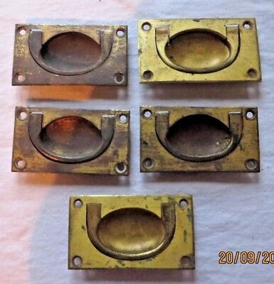 Drawer handles, brass, countersunk, vintage/antique X 5 (1 missing handle pin)