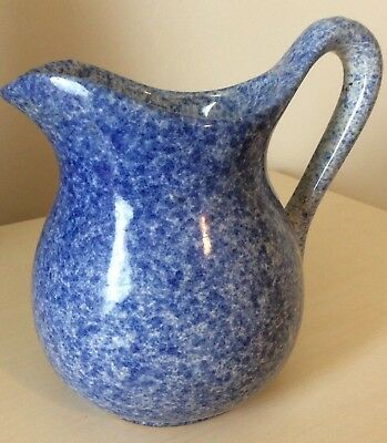Beautiful Early Antique Blue And White Spongeware Pitcher Nice!