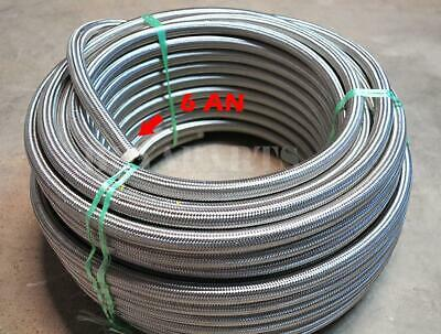 20ft 20 Feet 6 AN -6AN Stainless Steel Braided Fuel /Oil/ Gas Line Hose 1500 PSI