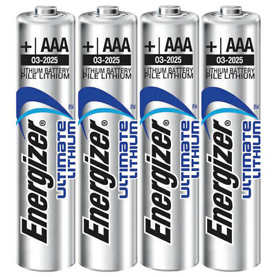 4 x Energizer AAA ULTIMATE Lithium Batteries LR03 L92 Digital Camera 2036 expiry