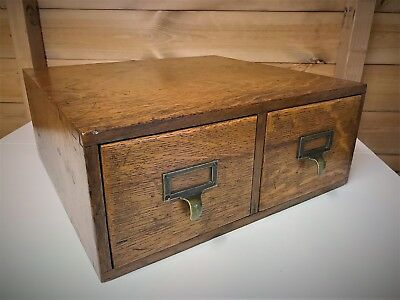 Antique Oak Library Index Card Filing Drawers - Kenrick & Jefferson